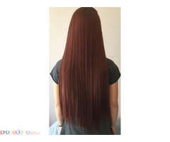 Екстеншън коса на треса в русо черно червено светло и тъмно кестеняво 60 сантиметра дължина ново нов