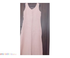 Ленена дълга рокля в розово