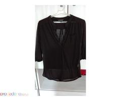 Черна прозрачна блуза