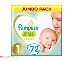 Пелени Pampers Premium Protection Размер 1 Jumbo Pack Новородени 72 броя